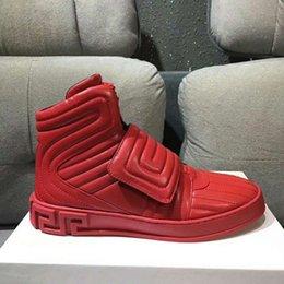 Nova venda quente vermelho Arrivla Moda Mens medusa Lado zipper Folha de metal kanye westCasual sapatos de tamanho livre 38-46 em Promoção