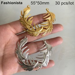 Leaf Connector Wholesale Australia - 30 pcs Metal Stamping Feather Connectors 55*50mm,Gold-color   Silver-color,Large Leaf Connectors,DIY Jewelry & Crafts Supplies