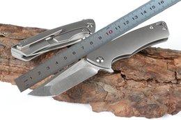 Toptan satış High End Küçük Flipper Katlanır Bıçak D2 Bırak Noktası Saten Bıçak CNC Finsh TC4 Titanyum Alaşım Kolu Rulman Hızlı Açık Hediye Bıçak