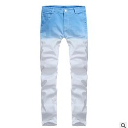 trends jeans UK - Foreign trade wholesale purchasing trend new style color printing long trousers hot Dunhuang men's Korean jeans factory direct sale