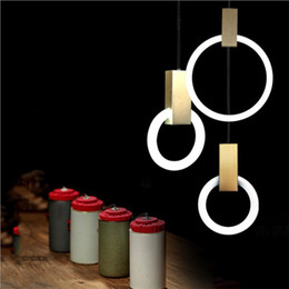 circle ring lights NZ - Nordic Minimalist Rings Pendant Lamp Arcylic Circle Wood Art Led Ring Light Luxury Hotel Room Living Room Cafe Light Fixture