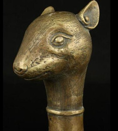 carved walking sticks Canada - WBY 15908*++Handwork 12 Bronze Animal Carvings Mouse Statue Cane Head Walking Stick