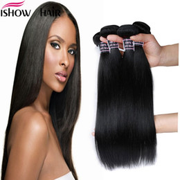 maylasian weft hair 2018 - Peruvian Brazilian Maylasian Silky Straight Hair 4 Bundles Ishow 8A Unprocessed Virgi Hair Weave Human Hair Bundles 8-28