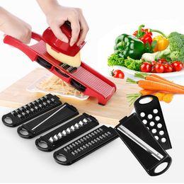 Spiral Slicer potatoeS online shopping - Plastic Creative Spiral Slicer Adjustable Blades Vegetable Cutter Potato Fries Shredder With Grater Kitchen Accessories