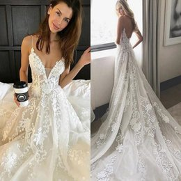 pallas couture wedding dresses NZ - Pallas Couture Wedding Dress Lace Applique Modest Spaghetti Straps Backless Wedding Dresses Bridal Gowns Cheap Vestidos De Novia