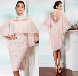 Vintage mother pearl online shopping - Pearl Pink Mother Of Bride Groom Dresses with Cloak Sheath High Neck Sheer Back Knee Length Lace Appliqued Beads Mother Dresses
