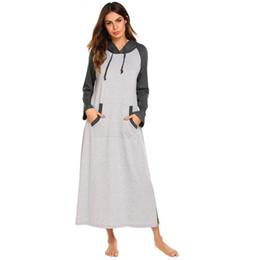 Sleepwear Chemise Nightdress Casual Solid Long Sleeve Women Hooded Long  Sleepshirts Nightgown Female Homewear Plus Size a9169f82b