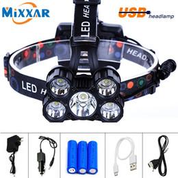 Cree Xm L T6 Battery Australia - E 18000LM LED Headlamp CREE 5 Chip XM-L T6  Q5 LED Head Lamp  Torch Lanterna 18650 Headlamp for Hunting Camping