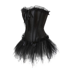 e73cc72ecba Women Waist trainer LaceTrim Corset Dress Sexy Lace up Boned Satin Bustier  Corset With tutu Skirts Plus Size S-6XL