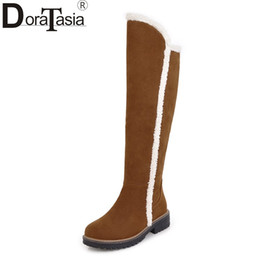Discount boot red platforms - DoraTasia Large Size 34-43 fashion Knee high Snow Boots Women comfortable square heels Platform Casual Winter Shoes wome