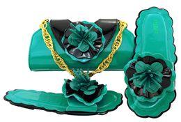 $enCountryForm.capitalKeyWord NZ - Nice looking teal low heel 0.5CM sandals with flower decoration african shoes match handbag set for dress MM1053