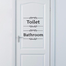Bathroom Wall Sticker Quotes UK - Free shipping Vintage Wall Sticker Bathroom Decor Toilet Door Transfer Vintage Decoration Quote Wall Art