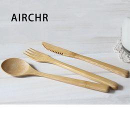 Ingrosso Airchr Nuovo arrivo Bamboo stoviglie 30pcs (10 set) 100% bambù naturale cucchiaio forchetta coltello Set di stoviglie in legno