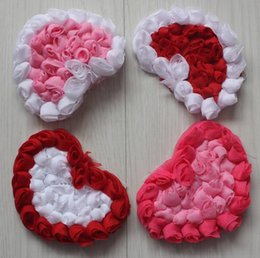 $enCountryForm.capitalKeyWord Australia - 30pcs 9cm Valentine's Day chiffon rosette heart for babies hair headband hair clip flower accessories 4 colors to choose