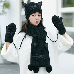 Black Scarves Gloves Sets NZ - Women's three-piece new winter cat warm and plush hat, gloves and scarf set