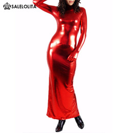 $enCountryForm.capitalKeyWord Australia - Red Shiny Metalic Long Catsuit Women Sexy Gymnastics Leotard Bodysuits Dresses Costumes