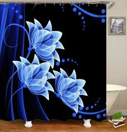 Водонепроницаемый великолепные цветы розы синий Лотос Водяная лилия занавеска для душа цифровой печати ванна занавес с кольцами 71x71INCH на Распродаже