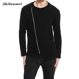 $enCountryForm.capitalKeyWord NZ - Black Thin Knitted Men's Sweater Cotton Gray O-Neck Asymmetric Zipper Sweater Men Sweaters for 2017 Autumn Spring Size S-XXL