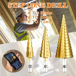 Drilling Cutter NZ - 4-12 4-20 4-32 Metric Spiral Flute Step HSS Steel 4241 Cone Titanium Coated Drill Bits Tool Set Hole Cutter 4-12 20 32mm