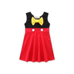 3643303c74373 Девушки без рукавов платье желтый лук красный черный ребенок малыш девушки  хлопок большой лук кнопки длиной до колен Лето 1-7T