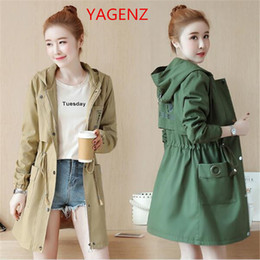 Korean green jacKet online shopping - Beautiful Windbreaker jacket Women Pink trench coat NEW Womens autumn coats Korean fashion clothing for womens High quality