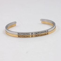 Cheap Price Hottest Stainless Steel Material Open Cuff Inspirational Bangles Mantra Bracelet Best Gift For Girls Ladies Expect Miracles Bracelets & Bangles
