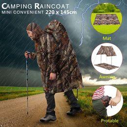 $enCountryForm.capitalKeyWord NZ - Multifunctional Rain Coat Protable Hiking Camping Raincoat Poncho Jacket Pockets Mat Awning Outdoors Rain Gear Supplies 3 In 1