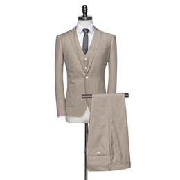 $enCountryForm.capitalKeyWord UK - Cncool Fashion Khaki Men Suits Summer Groom Suit Linen Mens Suits Wedding Groom Tuxedos Formal Businss Suit For Man
