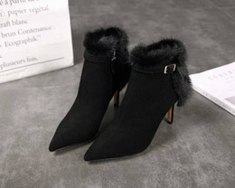 knight hair Australia - Brand Name autumn and winter Womens Ankle Knight High Heel 7.5CM Boots Shoes Cashmere Mink Hair Footwear Size 35-39