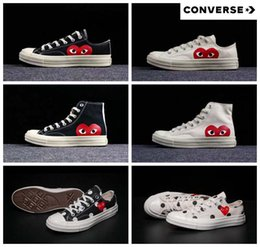 All stAr cAnvAs shoes online shopping - 2018 New Converse All Stars Shoes CDG Canvas Big eyes Hearts Brand Beige Black designer casual running Skate Sneakers