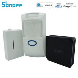 Nouveau Sonoff RF Pont 433 Mhz Wifi Sans Fil Convertisseur De Signal PIR2 PIR Capteur + DW1 Porte Et Fenêtre D'alarme Capteur Smart Home Automation
