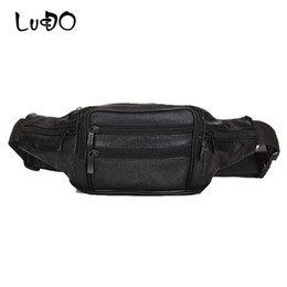 men leather waist hip bag UK - LUCDO Waist Bag Belt Leather Men Male Fanny Waist Pack High Quality Man Mini Handbag Messenger Money Phone Belt Bags Hip Purse