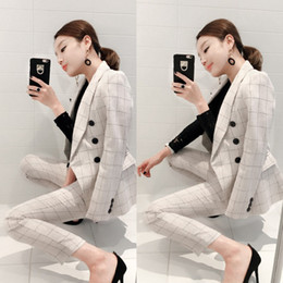 женские брюки оптовых-Business OL Office Pants Jackets Pieces Women s Blazer Fall Vintage Fashion White Plaid Dresses Women s Set