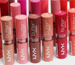 Long Lasting Lip tint online shopping - NYX Butter Lipstick Colors Batom Mate Waterproof Long lasting Lipstick ny Tint Lip Gloss Stick Brand Makeup Maquillage