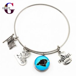 sports south 2018 - 10pcs Heart Love Charms With Football Sports Team Ginger Snap Buttons Adjustable Expandable Bangle Charm Bracelet For Wo
