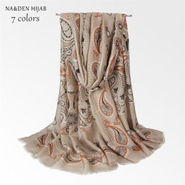 Discount flowers design hijab NEW paisley pattern hijab scarf flower muslim scarfs design women scarves and shawls brand wrap soft muffler islamic hij
