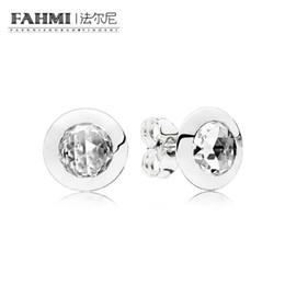 7779efa01 FAHMI 100% Sterling silver 1:1 Glamour 296216CZ RADIANT LOGO EARRING STUDS  Original Women wedding Fashion Jewelry 2018