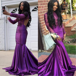 $enCountryForm.capitalKeyWord Australia - African Purple Lace Appliques Long Sleeves Prom Dresses 2018 Sexy Backless High Neck Mermaid Black Girls Evening Gowns Party Wear