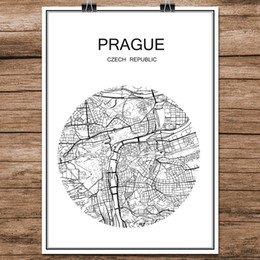 $enCountryForm.capitalKeyWord NZ - Black White World City Map of Prague Czech Republic Print Poster Coated Paper Cafe Bar Living Room Home Decor Wall Art Sticker