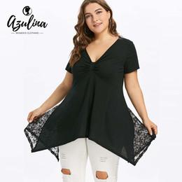 adba4542d71 AZULINA Plus Size V Neck Swing T-Shirt Summer T Shirt Women Lace Short  Sleeve Black Top Causal Ladies Tops Big Size 5XL T-Shirts