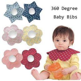 Wholesale green degree resale online - New Baby Bibs Round Neck Burp Degree Cotton Newborn Baby Bibs Waterproof Apron Bib Burp petal Bib For Infant Kids