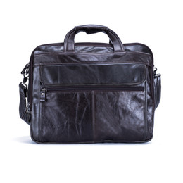 Mens Soft Leather Briefcase Canada - Nesitu Genuine Leather Mens Office Bag Men Briefcase Messenger Bags Business Travel Bag Portfolio 15.6'' Laptop #M9912