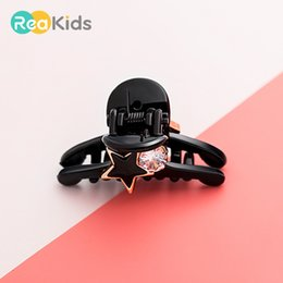 4f3ad36ed7e REAKIDS New Fashion Headband Baby Black Claw Hair Clip Cute Hair  Accessories Headwear Pattern With Diamond For Baby Girl