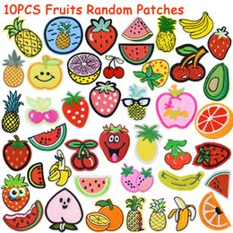 Discount fruit bags wholesale - 10PCS Diy Fruit Patches Random for Clothing Iron Embroidered Patch Applique Iron on Patches Sewing Accessories Badge Pat