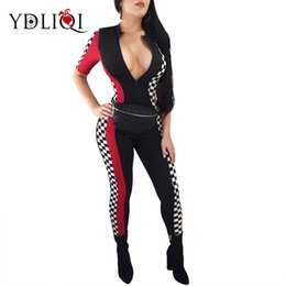 18f3966061a YDLIQI Sexy Summer Rompers Women Bodycon plaid Jumpsuit vintage Overall  Checkerboard Zipper long Playsuit Club One Piece Outfit