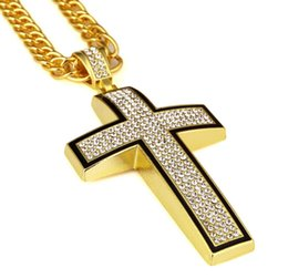 "iced out jewelry UK - 2019 Large Bling Cross 3D Hip Hop Iced Out Religious Pendant Franco Chain 35.4"" Gold Silver Plated For Men Women Jewelry Fashion Gift"