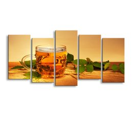 China 5 pieces high-definition print Beer wheat green leaves canvas oil painting poster and wall art living room pictur PJ-002 supplier leaf framed art suppliers
