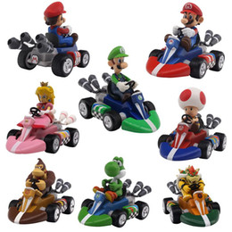 Chinese  Super Mario Bros Figures 12Cm Japan Anime Luigi Dinosaurs Donkey Kong Bowser Kart Pull Back Car Pvc Figma Kids Hot Toys for Boys manufacturers