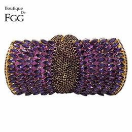 Wholesale- Women Socialite Purple Rhinestones Crystal Evening Clutches Bag  Wedding Dress Bridal Diamond Chains Shoulder Handbags Purses 65a764dda74c
