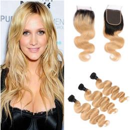 $enCountryForm.capitalKeyWord NZ - Ombre 1B 27 Dark Roots Brazilian Virgin Human Hair Extension Body Wave 3 Bundles With Lace Closure Honey Blonde Human Hair Weaves
